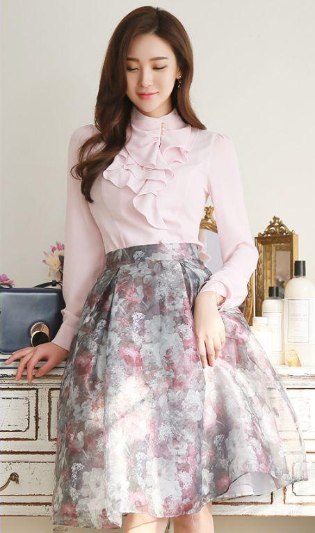 StyleOnme_Floral Print Organza Full Skirt #floral #flower #sweet #pink #skirt #koreanfashion #spring #kstyle #seoul #kfashion
