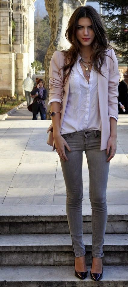 Street fashion denim with blush blazer
