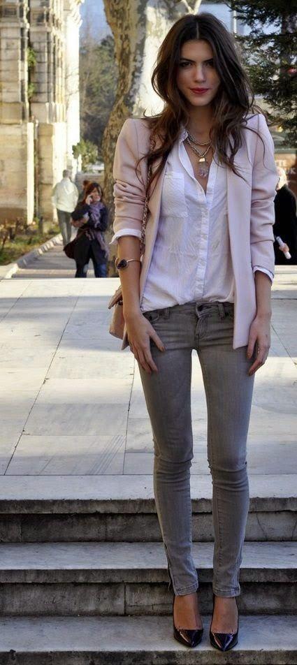 Street fashion denim with blush blazer