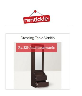 Dressing Table on Rent, Rentickle providing best deal on dressing table on rent with the perfect blend of height, width and depth, this ensures a perfect fit for your requirements, so get it on rent in Gurgaon, Noida, India.