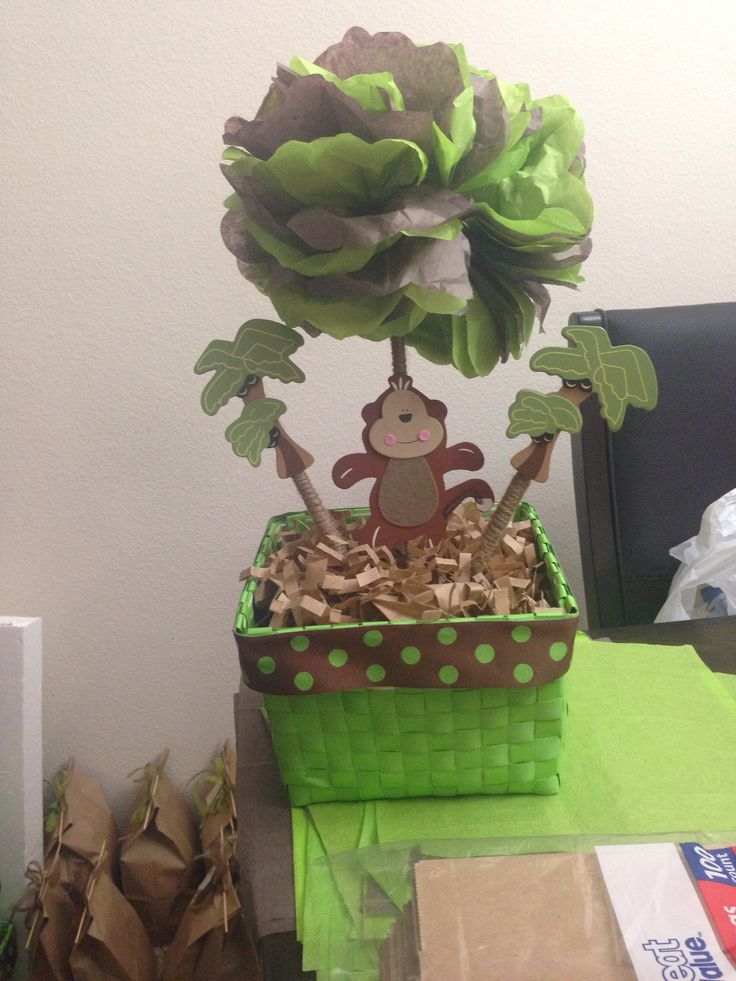 Baby shower monkey centerpieces