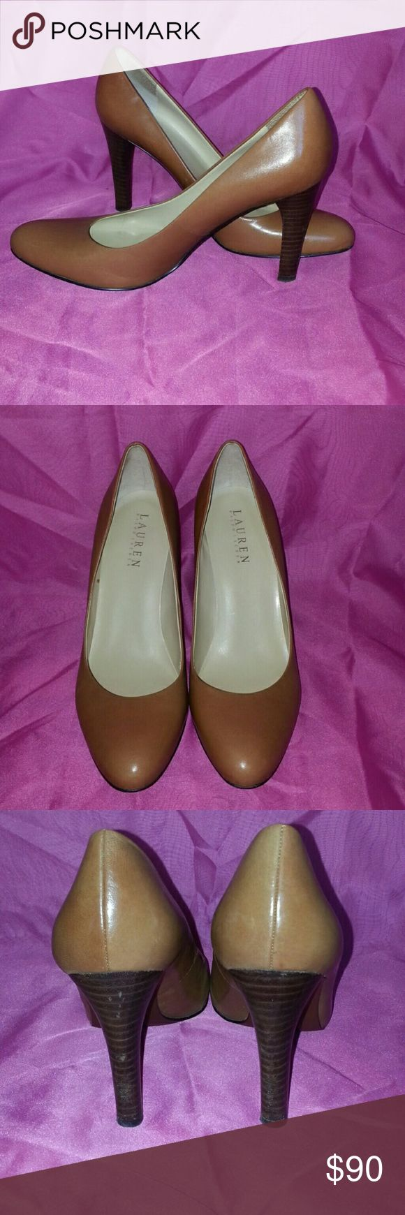 "Ralph Lauren Tan Pumps 8 M Lightly used. Scuff on back of one heel. 3.75"" heel.  Excellent condition!  💲💲 BUNDLE & SAVE 💲💲 I have several different styles in a 8 Ralph Lauren Shoes Heels"