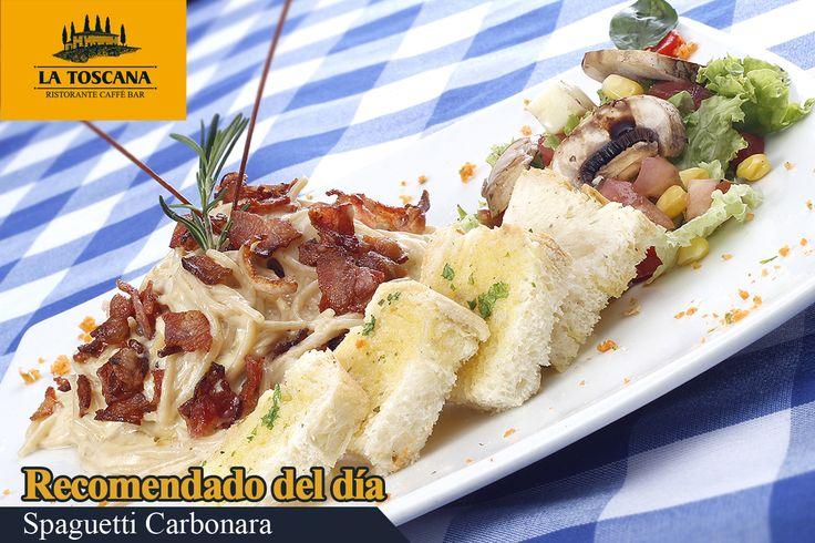 Spaguetti Carbonara  Spaguetti con tocineta en salsa blanca. Acompañado de pan de la casa y ensalada.