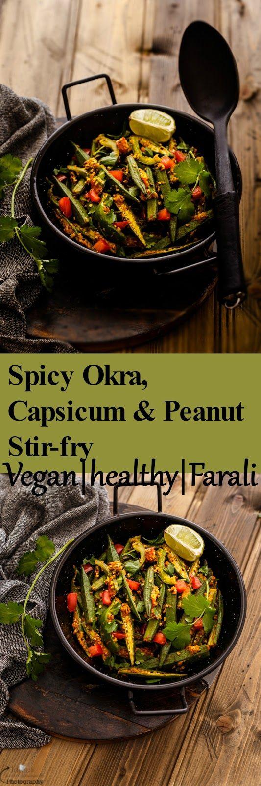 Jagruti's Cooking Odyssey: Farali Bhinda / Bhindi Capsicum - Spicy Okra, Capsicum and Peanut Stir-fry without Onion - Garlic
