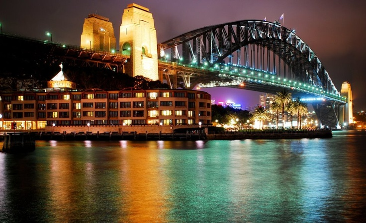 walking across the Sydney Harbour Bridge by night, Australia