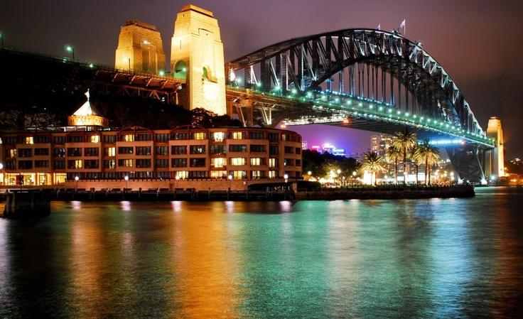 walking across the Sydney Harbour Bridge by night, Australia