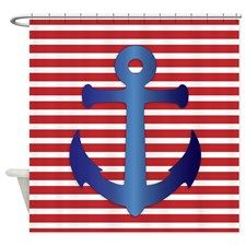 Blue Anchor On Striped Background Shower Curtain for