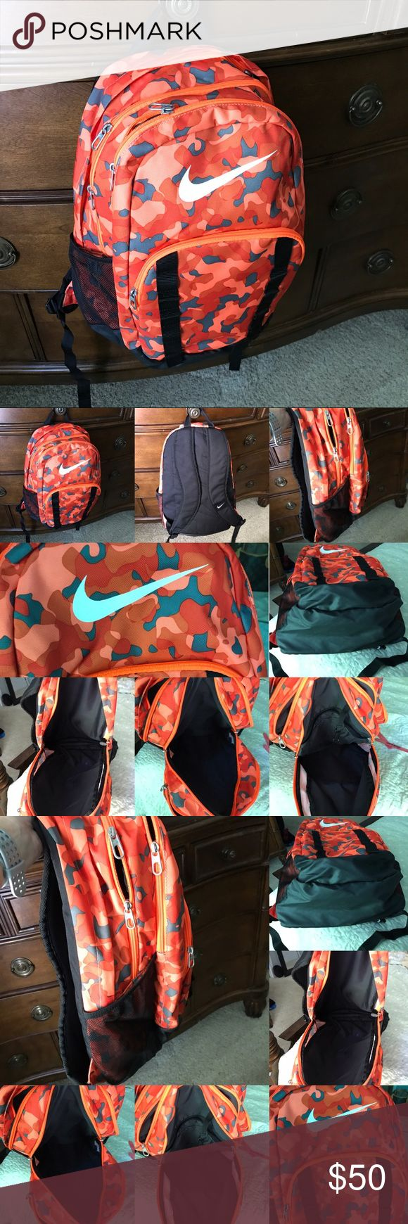 Nike Brasilia 7  Xl Backpack Orange Camouflage Nike Brasilia 7 Orange Black Graphic Xl Backpack Shoulder Bag Camo, EXCELLENT like new condition. Extra large 21 x 15. Nike Bags Shoulder Bags