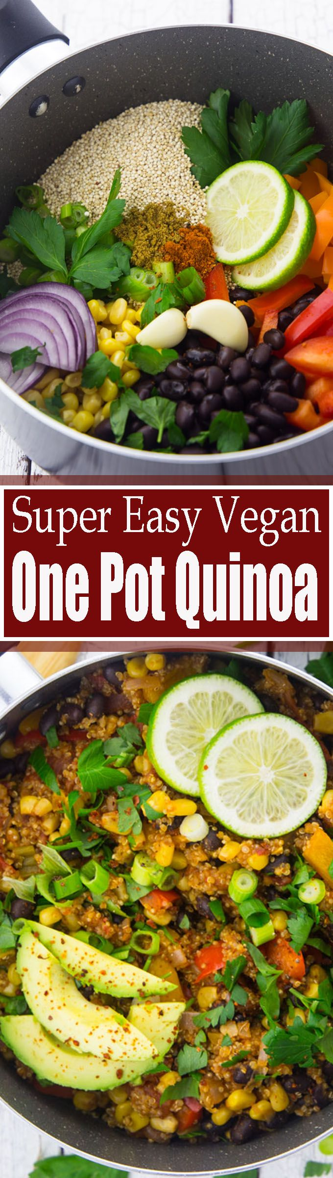 This one pot quinoa makes such a great and healthy dinner! It's vegan, vegetarian, gluten-free, and super easy to make! <3