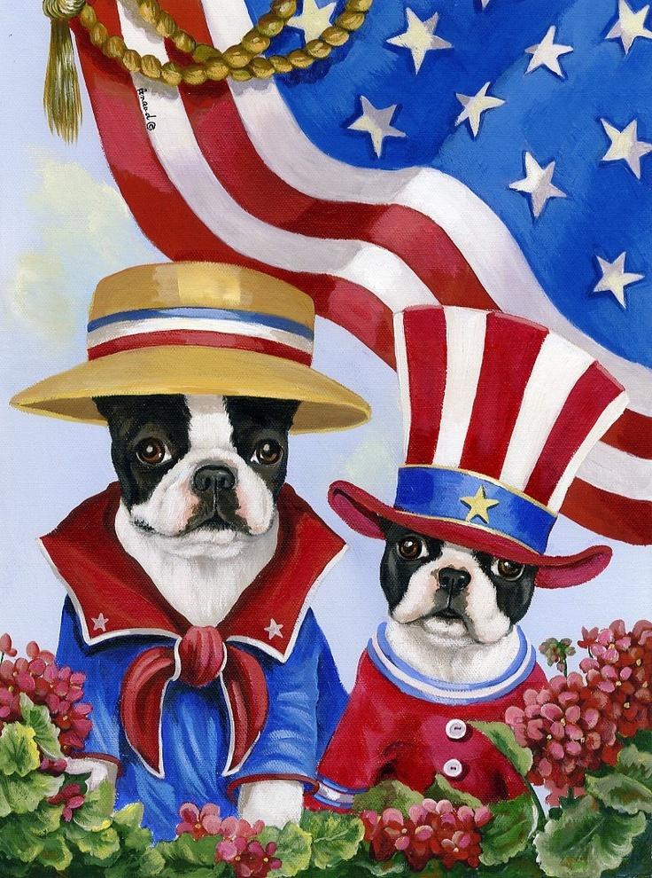 Precious Pet Paintings X Boston Terrier Of July Fl