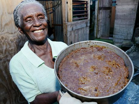 "Jamaican sweet potato pudding made the traditional ""hell a top, hell a bottom, and hallelujah in the middle"" way."" NT"