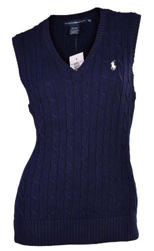 Save $25.02 on Polo Ralph Lauren Women\u0026#39;s V-Neck Cable Knit Sweater Vest-New