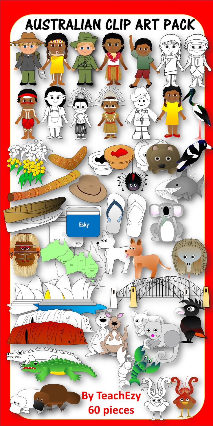 60 piece clip art pack Australia. For personal or commercial use. See terms.
