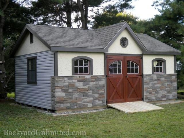 12x16 victorian shed with carriage doors stone - Garden Sheds Victoria