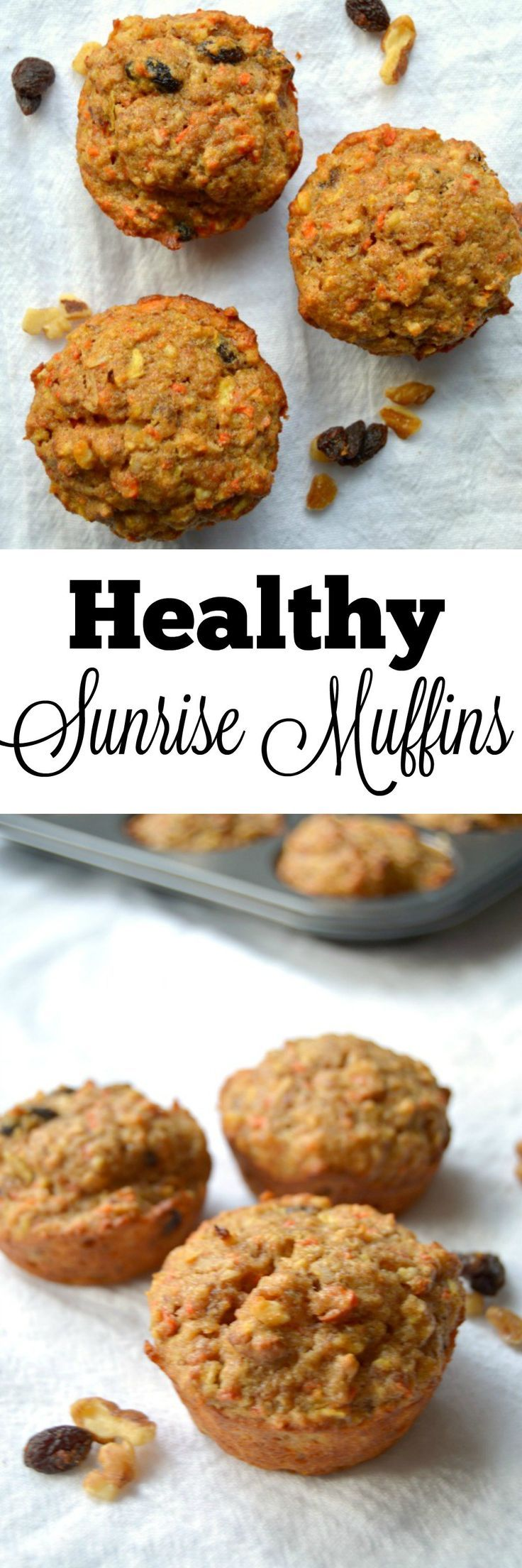Healthy Sunrise Muffins - These Sunrise Muffins are moist and delicious! They are an amazing healthy breakfast or snack since they are packed with whole grains, fruits and veggies!