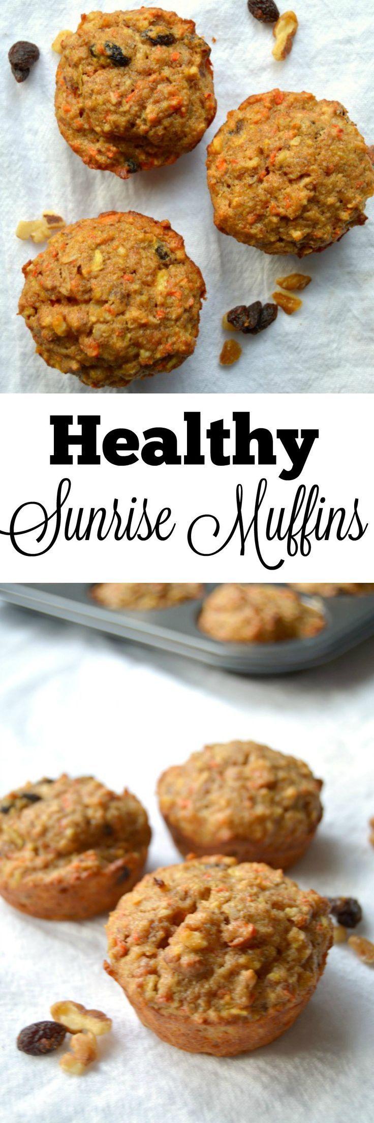 Healthy Sunrise Muffins - Healthy Muffins - Sunrise Muffins - Morning Glory Muffins - Carrot Cake Muffins - Low Fat Muffins - Sugar Free Muffins