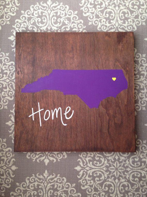 Purple State sign. North Carolina sign. ECU decor. by theratliffco