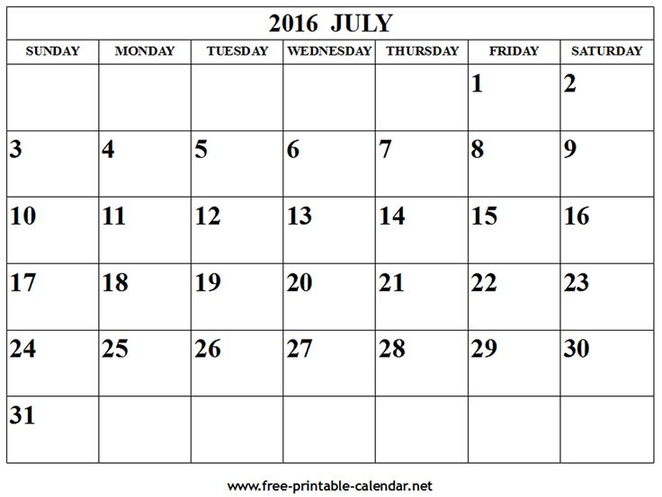 136 best July 2016 Calendar with Holidays images on Pinterest - assessment calendar template