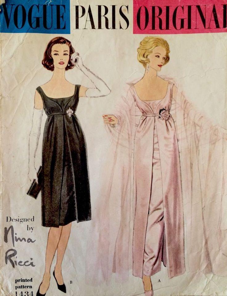 1950s Vintage Vogue Paris Original NINA RICCI Evening Dress Sewing Pattern #1434