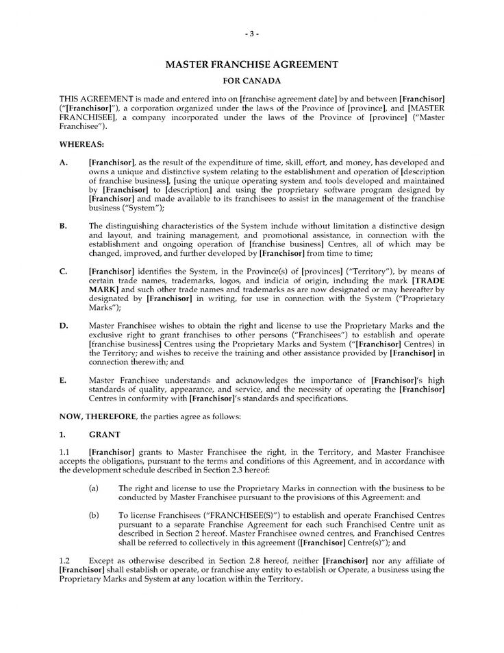 our canada master franchise agreement legal forms and