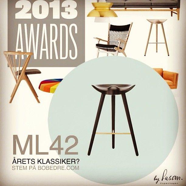 Taburetten ML42 er nomineret til 'Årets Klassiker' i Bo Bedre Design Award 2013 - husk at stemme 👍  #taburetten #ml42 #bylassen #mogenslassen #flemminglassen #bobedre #design #award #klassiker #bobedredesignaward #thanks