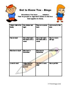 Get to Know You BINGO: Students walk around and find classmates who can relate to the statement in the box – good ice breaker or get to know you activity.