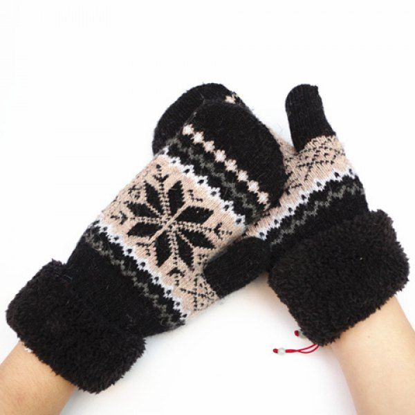 Pair of Chic Christmas Snowflake Pattern Thicken Women's Knitted Gloves #women, #men, #hats, #watches, #belts, #fashion, #style