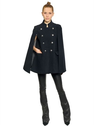 BONDED WOOL CLOTH CAPE