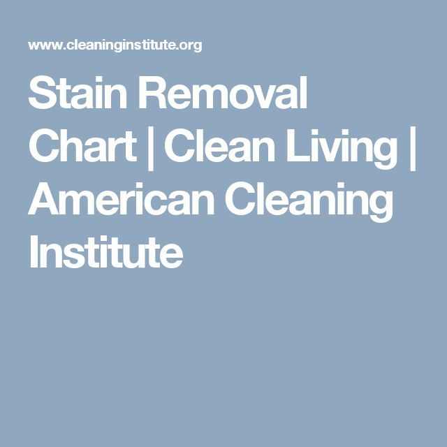 Stain Removal Chart | Clean Living | American Cleaning Institute