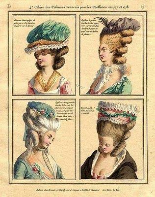 Plaques de mode française, 1777. Hey hey mon nouveau chapeau de soie ressemble à celui en haut à gauche.