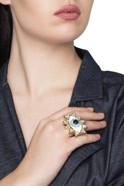 850d83fdb VALLIYAN Glod Plated Evil Eye Ring with Swarovski Crystals ...