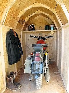キットガレージ リトルハット DIY 組み立てガレージ 大切なバイクや ... オートバイ1台入れガレージ(ジレラ300cc1台) ...