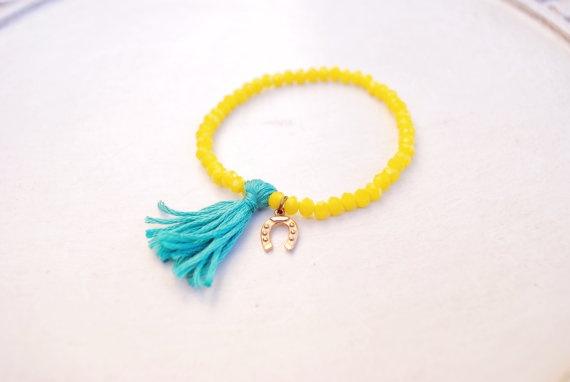 Crystal beads bracelet with good luck symbol charm and tassel  www.etsy.com/shop/BlackOrchidbySC