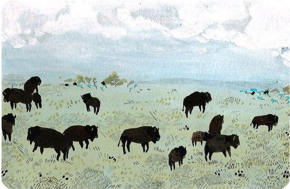 buffalo by beccastadtlander on Etsy, $20.00: Wall Art, Color, Becca Stadtland, Galleries Wall, Buffalo 66, Wonder Pics, Painting, Stadtland Illustrations, Beccastadtland