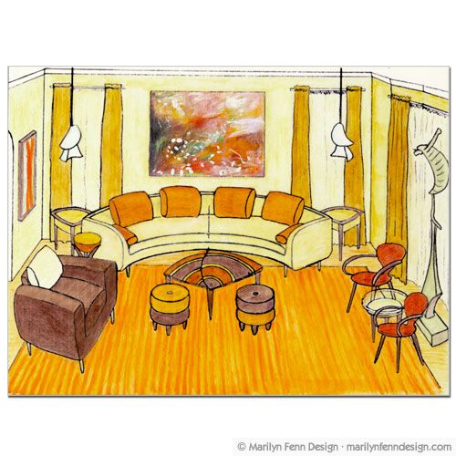Living Room Clip Art: Interior Design Perspective Drawing - Living Room