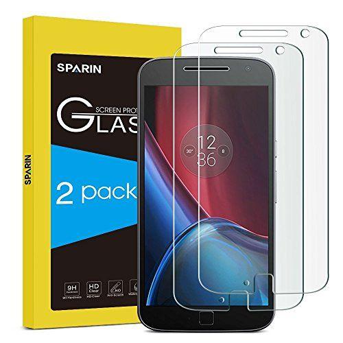 [Pack de 2] Moto G4 Plus Protector de pantalla, sparin [vidrio templado] [sin burbujas] [Dureza de 9H] [resistente a arañazos] Protector de pantalla para moto G4 Plus, [garantía de por vida]