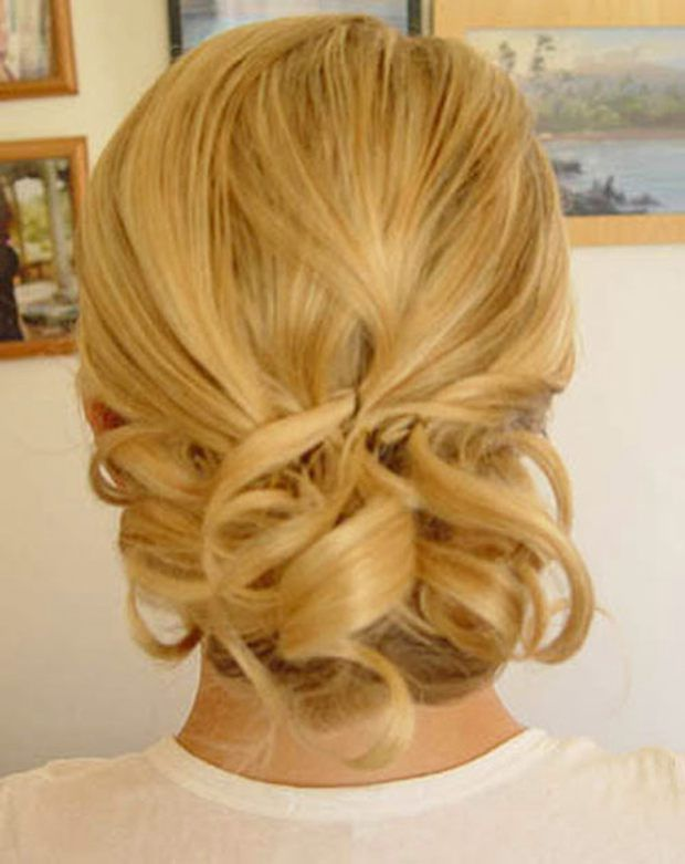 Short hair updo: structured curls, gathered and pinned.
