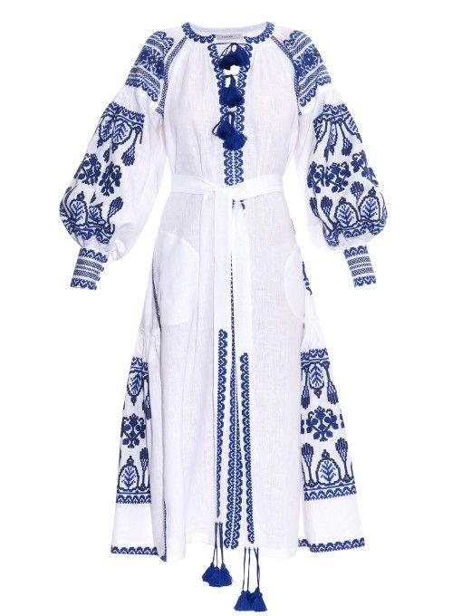 Vita Kin Embroidered linen midi dress
