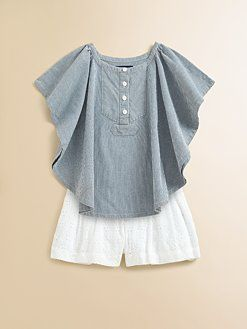 I want an adult version of that top!!!  Ralph Lauren - Toddler's & Little Girl's Denim Delaney Top