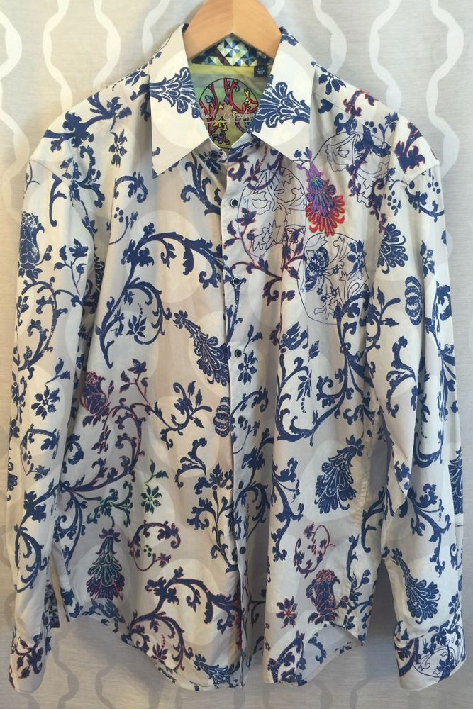 Robert Graham Moon Dance Vine Print Shirt Size Large Embroidery Fleur-de-lis #RobertGraham #ButtonFront