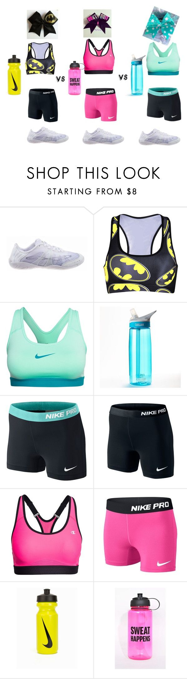 """""""Allstar cheerleading"""" by ttateonline ❤ liked on Polyvore featuring NIKE, CamelBak and Champion"""