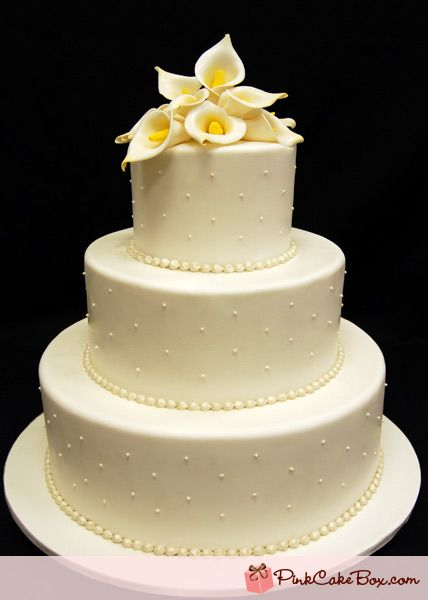 Ivory Sugar Calla Lilly Wedding Cake by Pink Cake Box