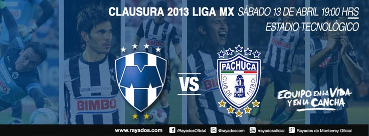 Partido Rayados vs Pachuca: Sábado 13 de abril a las 19:00hrs en el Estadio Tecnológico. Transmite Sky 512, Cablevisión 720 en Monterrey. Resto del país por Galavisión.