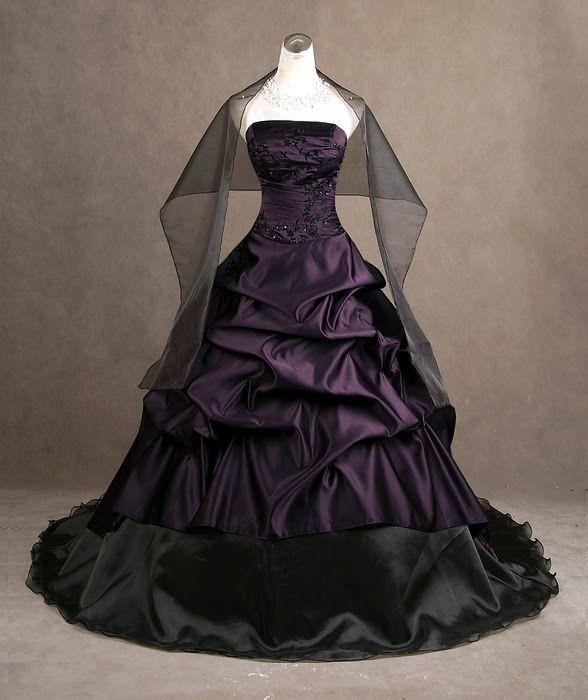 Love the purple: Weddingdress, Wedding Dressses, Fashion, Purple, Wedding Ideas, Gothic Wedding Dresses, Black Wedding, Gowns