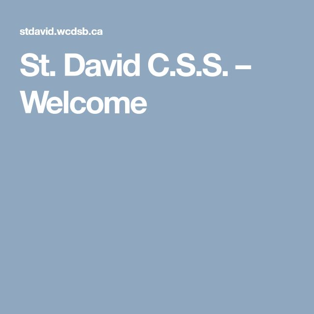 St. David C.S.S. – Welcome