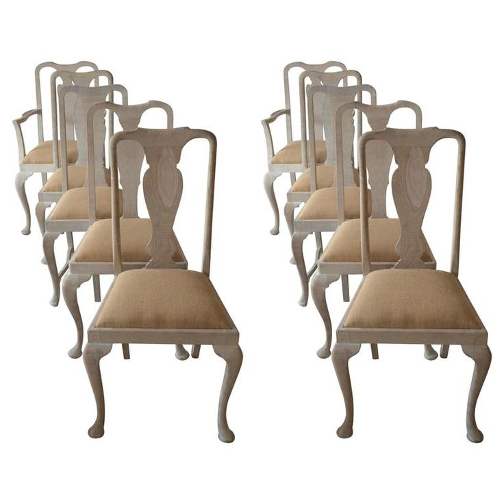 Harlequin Set of Ten ( 10 ) Antique Gustavian Style Limed Oak Dining Chairs 1
