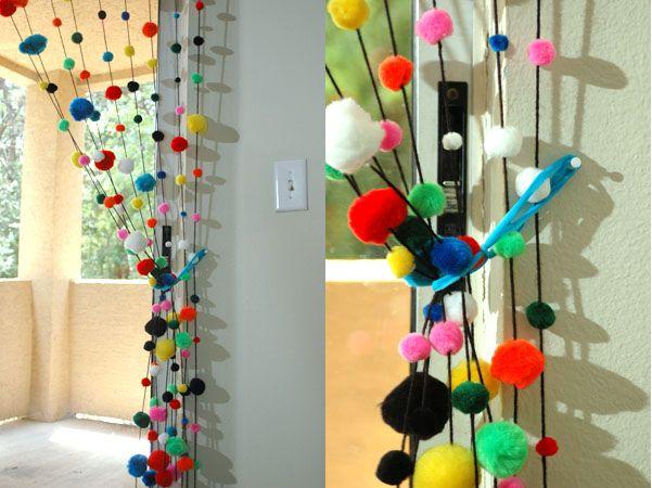 Pom Pom Curtain for my studio!