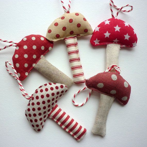red and white mushroom ornaments - cute!