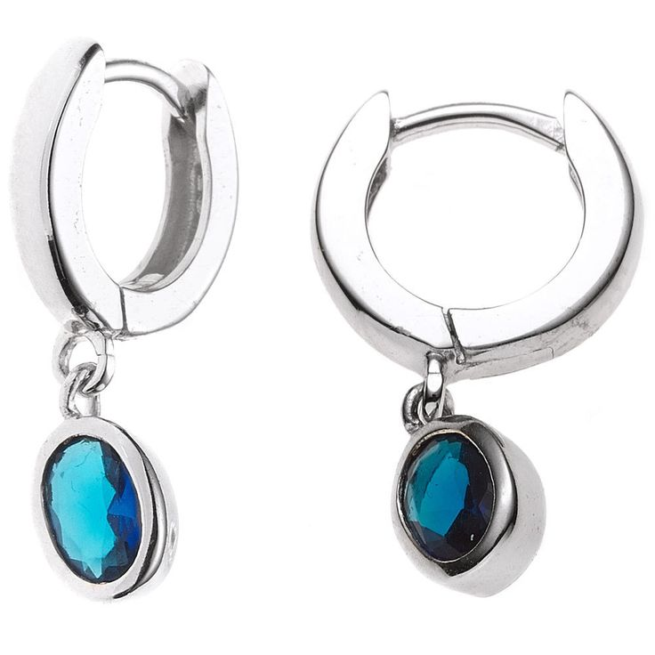 Creolen 925 Sterling Silber rhodiniert 2 Zirkonia blau Ohrringe Klappmechanik
