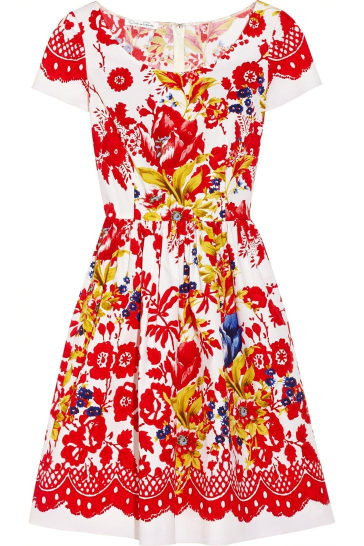Pin for Later: What Are You Wearing to Your Kentucky Derby Party? Kentucky Derby Dress Oscar de la Renta Printed Stretch-Cotton Dress ($890)